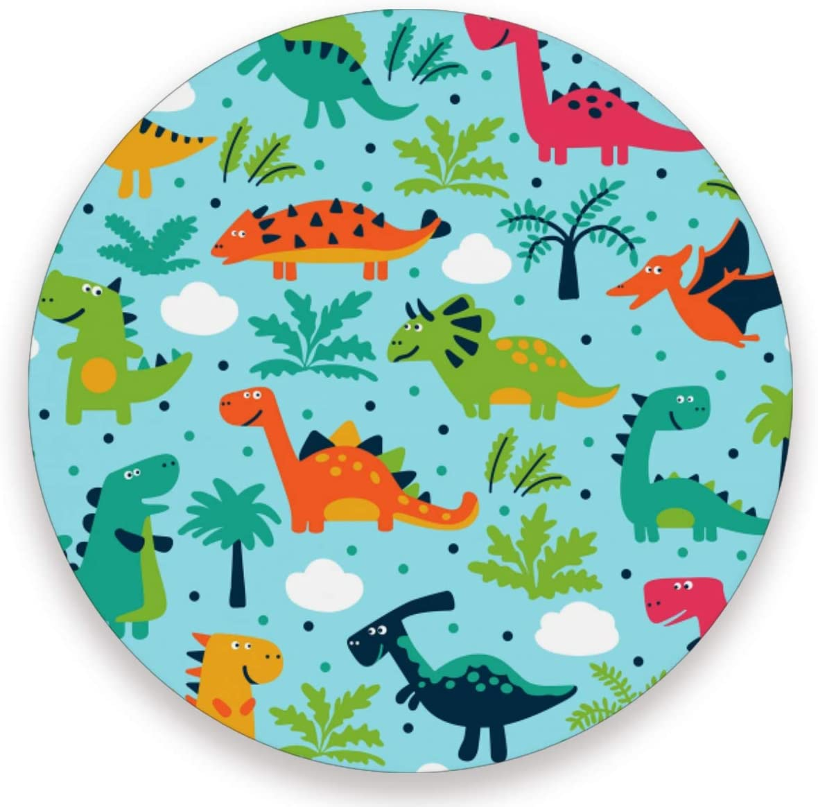 Olinyou Funny Dinosaurs Clouds And Trees Coasters for Drinks Set of 4 Absorbent Ceramic Stone Round Coaster with Cork Base