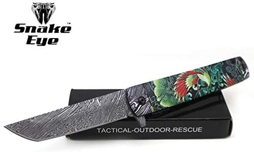 Snake Eye Tactical Every Day Carry Folding Knife | Outdoor Survival Pocket Knife | Small one-Hand Knife Made of Stainless Steel Blade| Ideal for Recreational Work Hiking Camping (Green)
