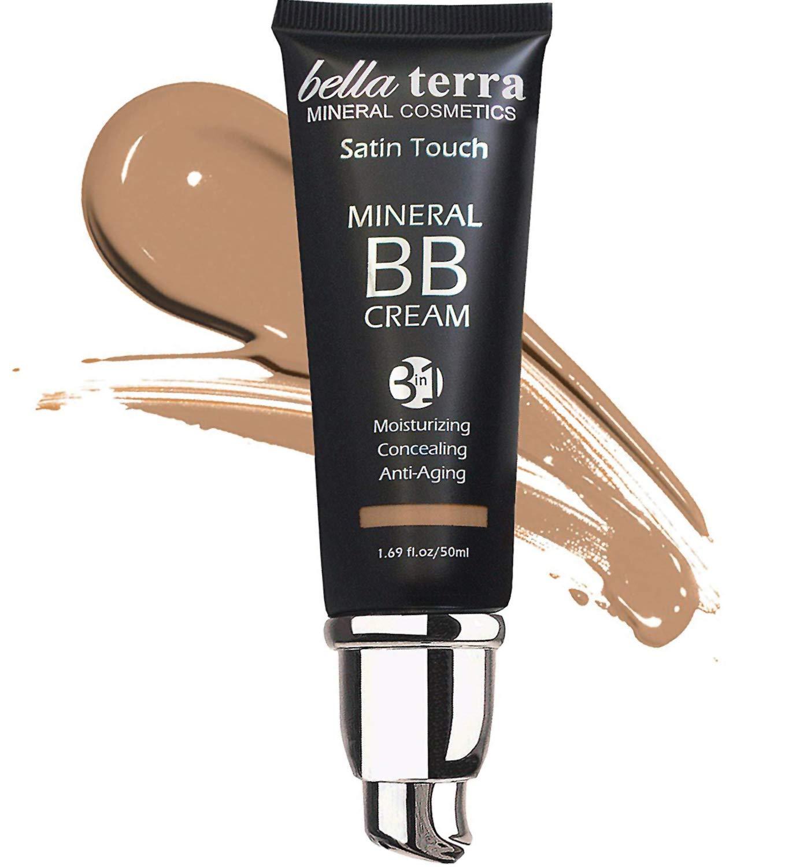 Bella Terra BB Cream Tinted Moisturizer, Mineral Foundation, Concealer, Anti-Aging, Natural Sun Protection, All Shades 1.69oz - Medium Tan 105