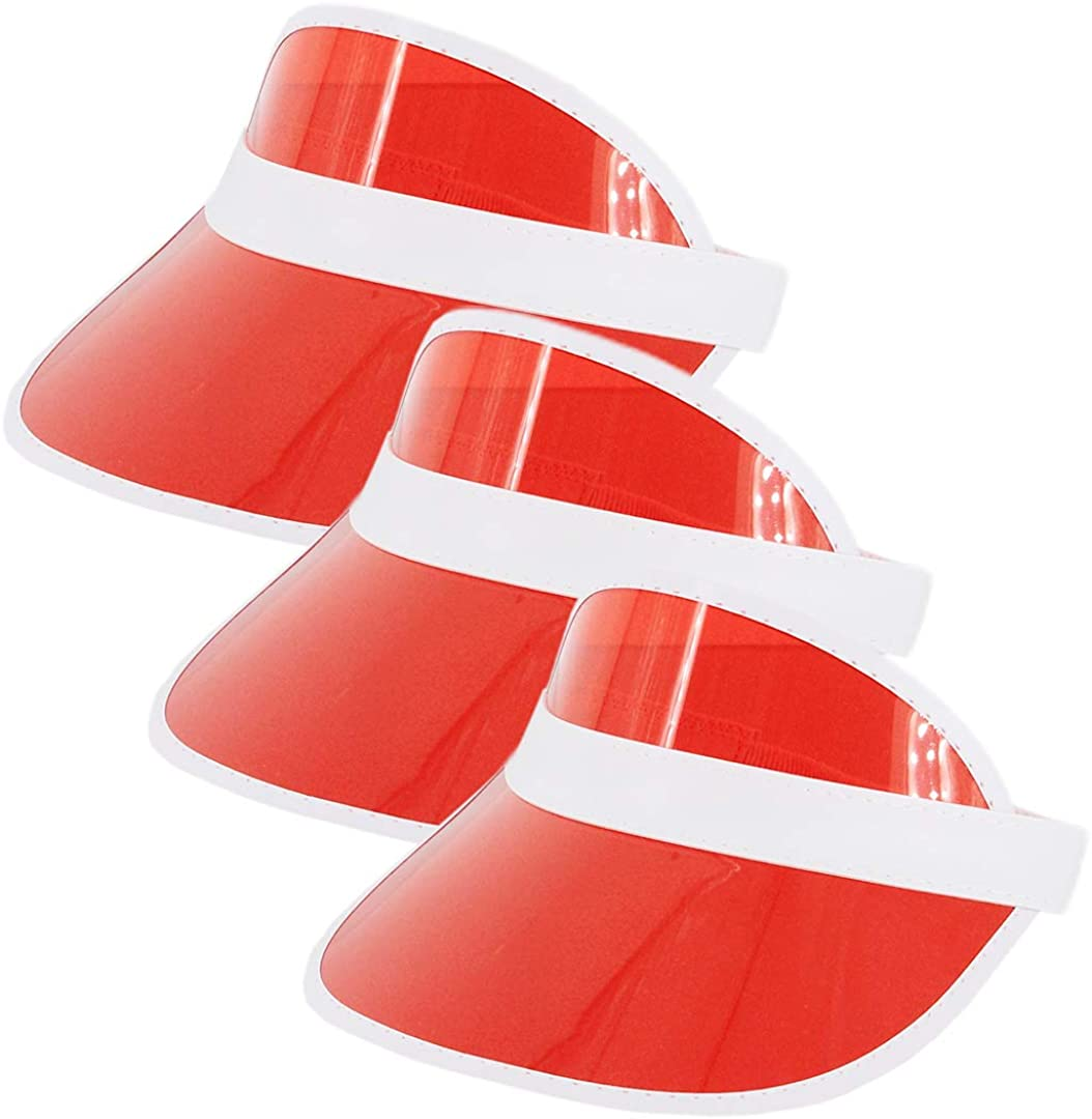 Rebecca Unisex Sun Visor Caps Transparent Colored Plastic Sun Hat Elastic Headband Solar Summer UV Protection Outdoor