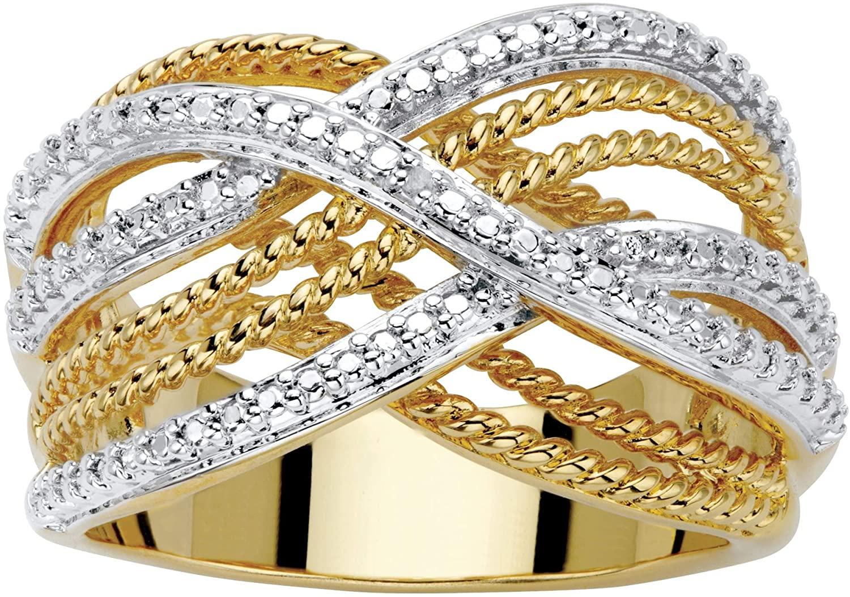 Palm Beach Jewelry 18K Yellow Gold Genuine Diamond Accent Two Tone Braided Ring
