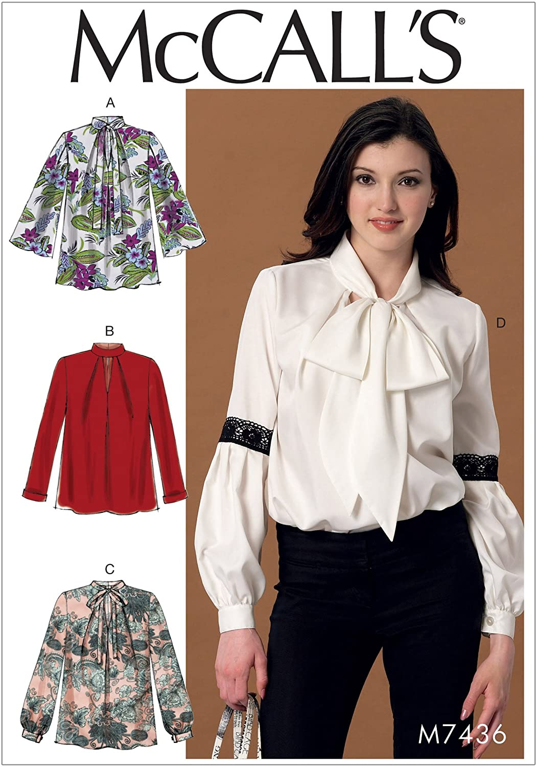 McCall Patterns Misses Notch-Neck Sleeve and Neckband Variations Tops