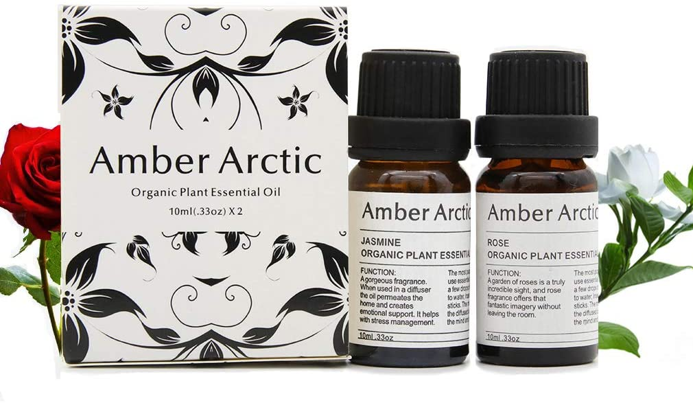 Rose Jasmine Essential Oil Set, 100% Pure Natural Aromatherapy Therapeutic Grade Essential Oils for Diffuser-2 X 10ml