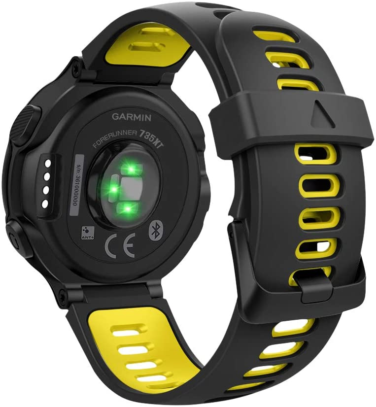 MoKo Watch Band, Soft Silicone Women Men Adjustable Replacement Sport Strap Compatible with Garmin Forerunner 220/230/235/620/630/735XT - Black & Yellow