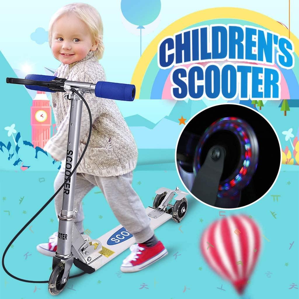 WOMENQAQ 3 Glowing Wheels Folding Kids Scooter,Handbrake Adjustable Height Child Outdoor Ride Foot Bike