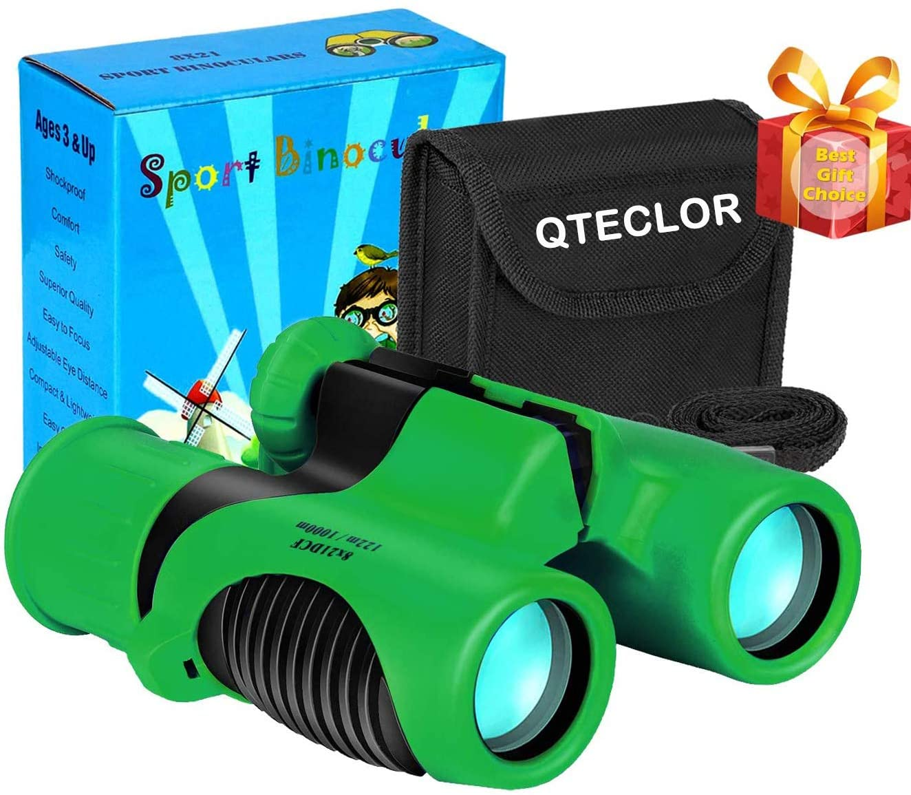 Compact Mini Binoculars for Kids – 8x21 Zoom Kids Binoculars Toy Gift Shock Proof for 3 4 5 6 7 8 9 10 11 12 13 Years Old Boys Girls Bird Watching Sporting Events Children Best Present (Green)