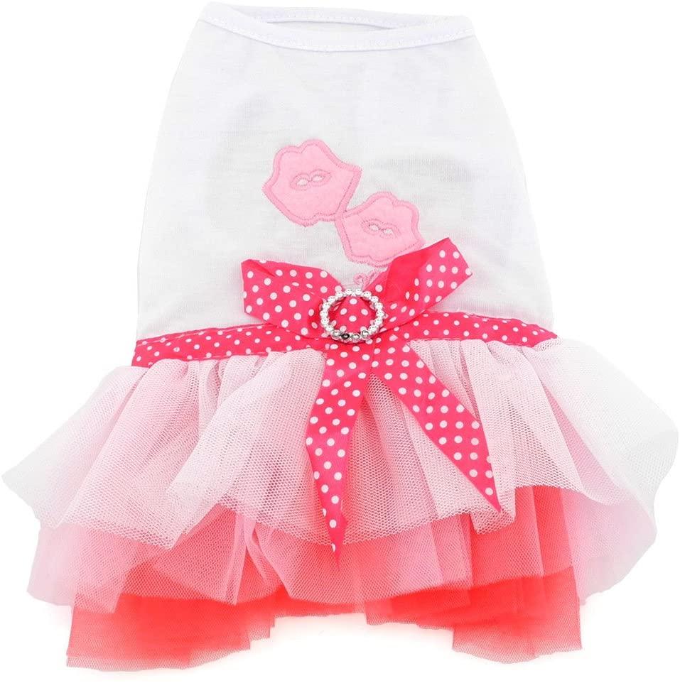 SMALLLEE_LUCKY_STORE Lips Heart Princess Tutu Dress