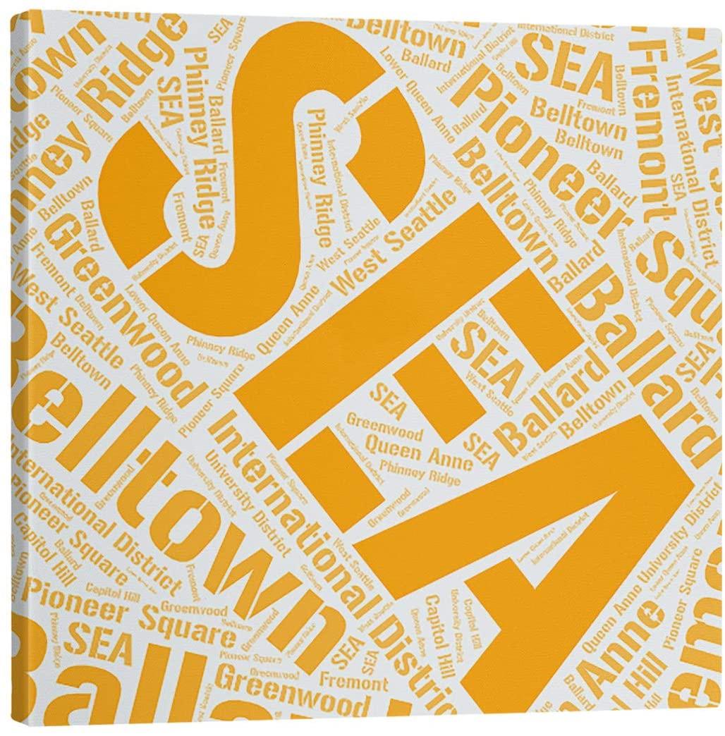 ArtVerse Rand Cites Seattle, Washington Districts Word Art-Orange Gallery-Wrapped Canvas