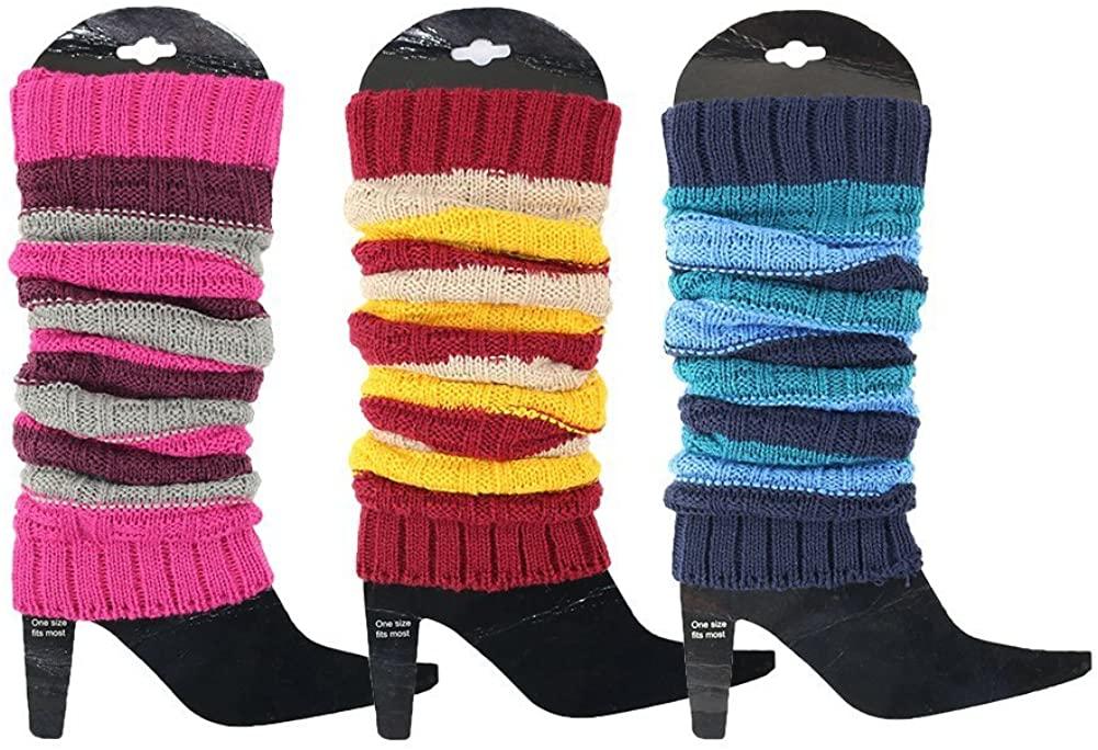 3 Pack Womens Fall Winter Warm Colorful Striped Knit Leg Warmers Long Socks