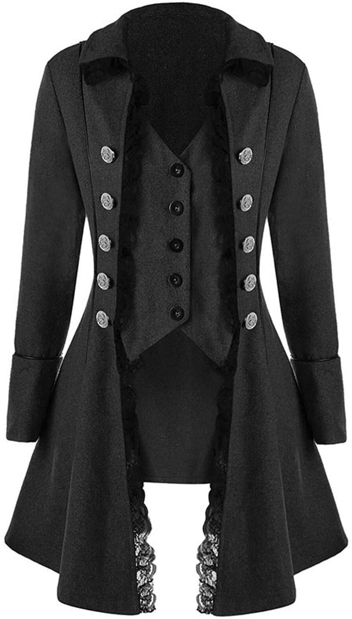 Womens lace Steampunk Thin Jacket Casual Jackets Retro Victorian Punk Medieval Jacket Overcoat (XXXL, Black)