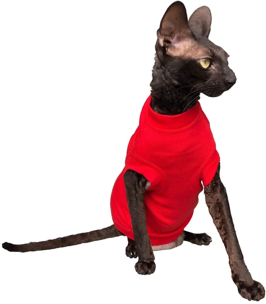Kotomoda Sphynx Cat's Turtleneck Maxi InRed Naked Cat Hairless Cat Clothes