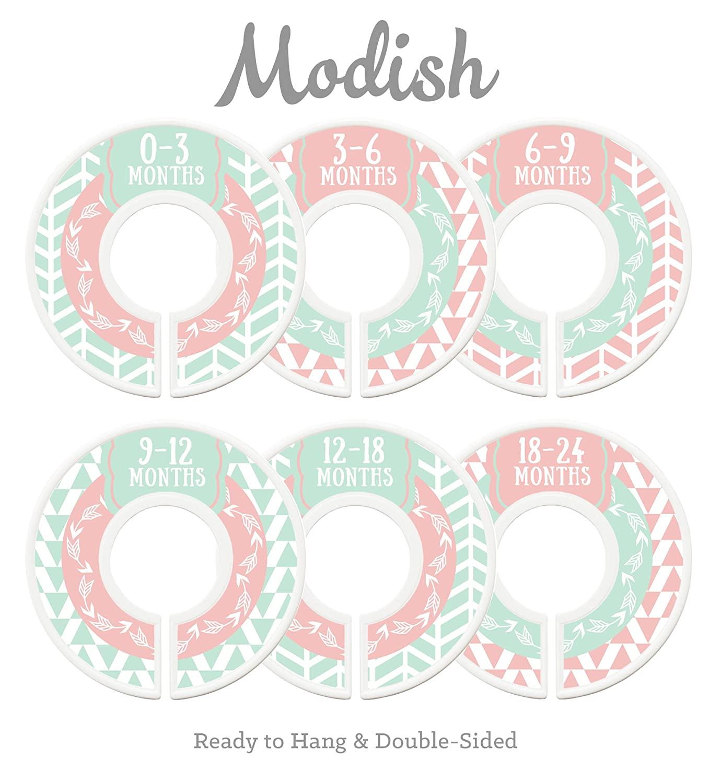 Modish Labels Baby Nursery Closet Dividers, Closet Organizers, Nursery Decor, Baby Girl, Woodland, Arrow, Tribal, Pink, Mint