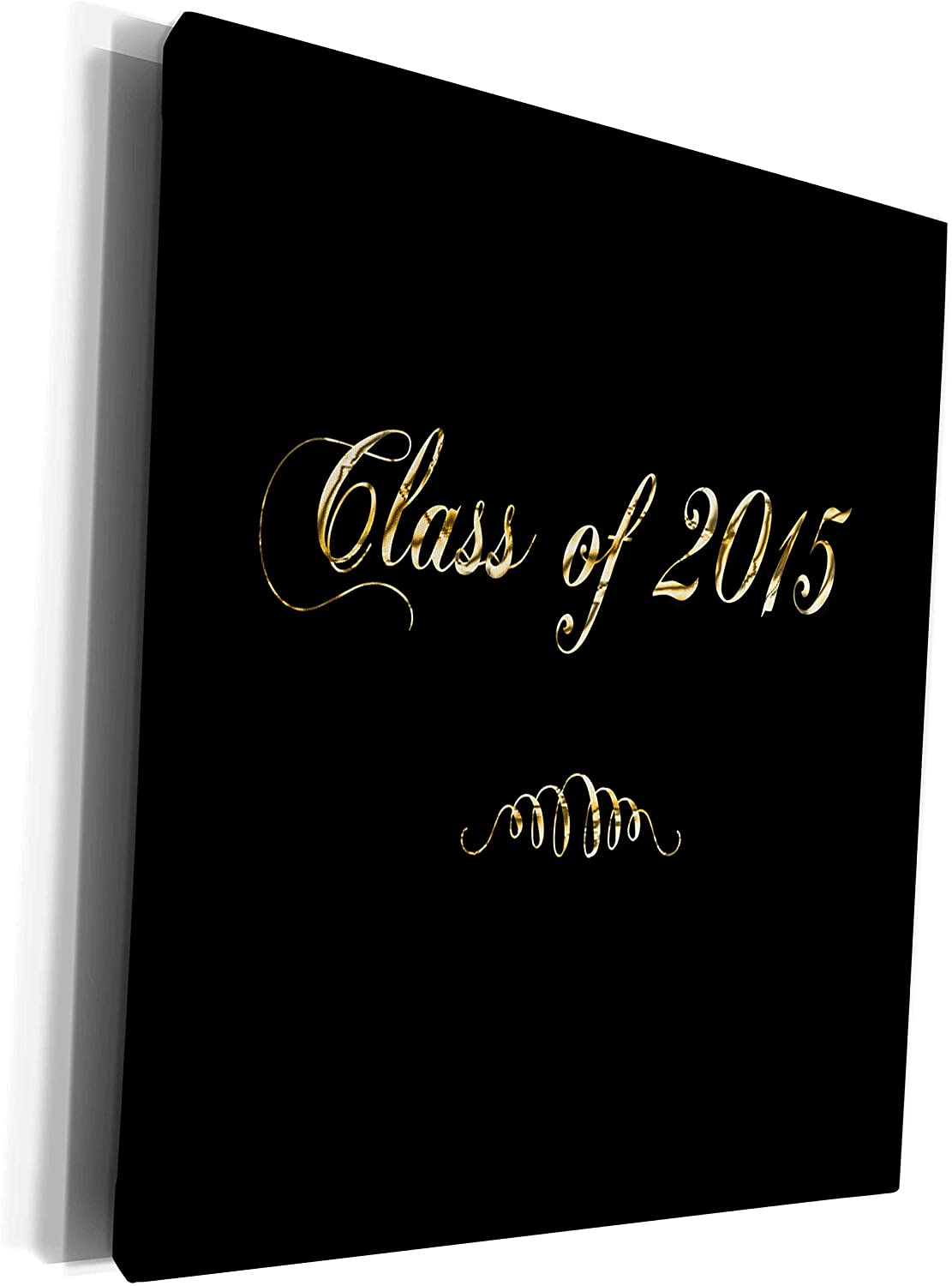 3dRose Beverly Turner Graduation Design - Class of 2015 in Elegant Gold Font on Black - Museum Grade Canvas Wrap (cw_203349_1)