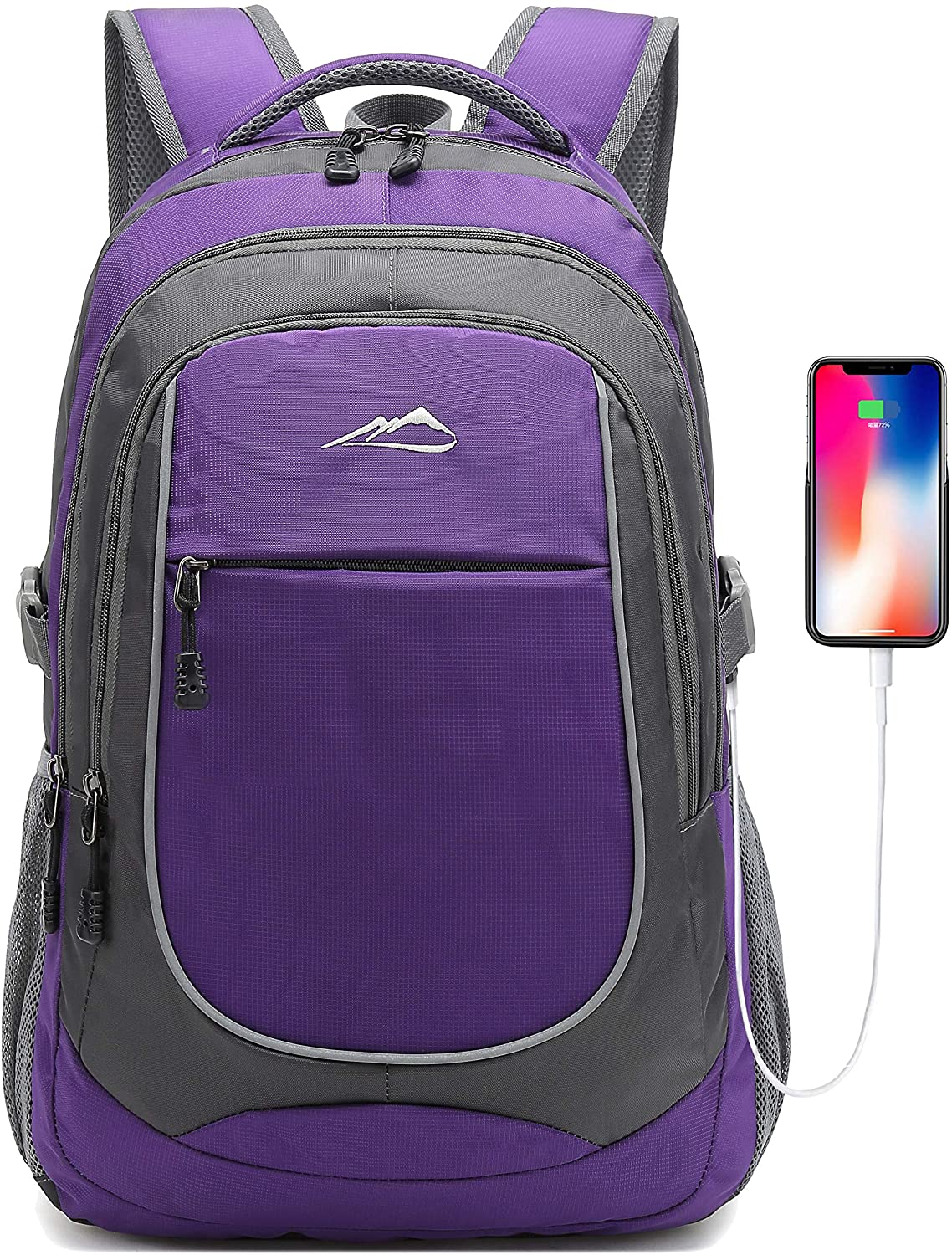Backpack for School College Student Laptop Business Travel Bookbag with USB Charging Port Luggage Chest Strap Night Light Reflective (Purple)
