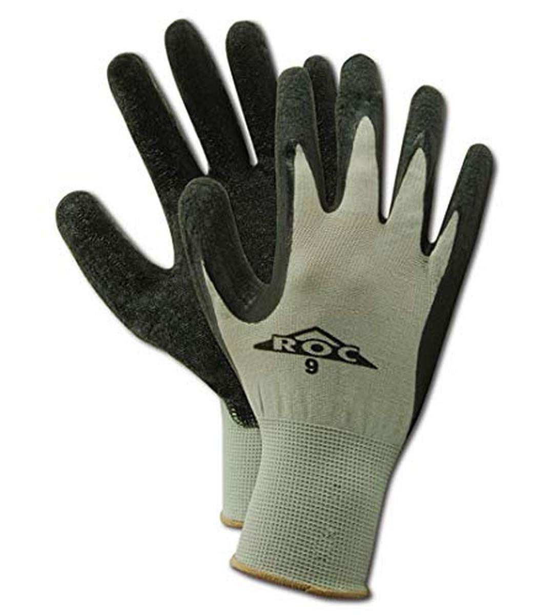 Magid Glove & Safety ROC GP190 Nylon Glove, Black Latex Palm Coating, Knit Wrist Cuff, GP19010-2, Grey, 24 Pair