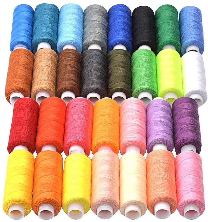 90sMuse Sewing Thread Colored Spools 30 Colors Set, Crochet Thread Polyester Yarn for Hand and Machine Stitching Gear,Clothes,Crafts,Repairs,Quilting (250 Yards / Axis, 60 Colors)