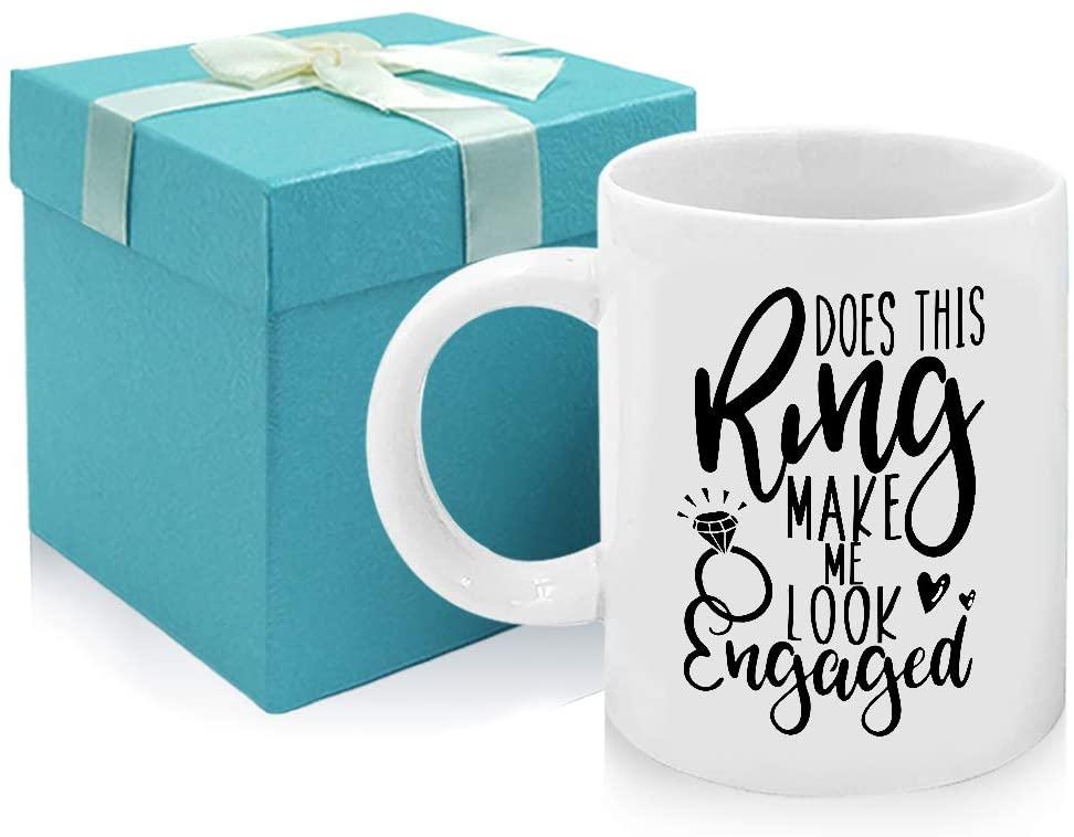 Tom Boy Engaged Mug Engagement Gifts Does This Ring Make Me Look Engaged Coffee Mug,Great Engagement Wedding Gift for Fiance Bridal Tea Mugs