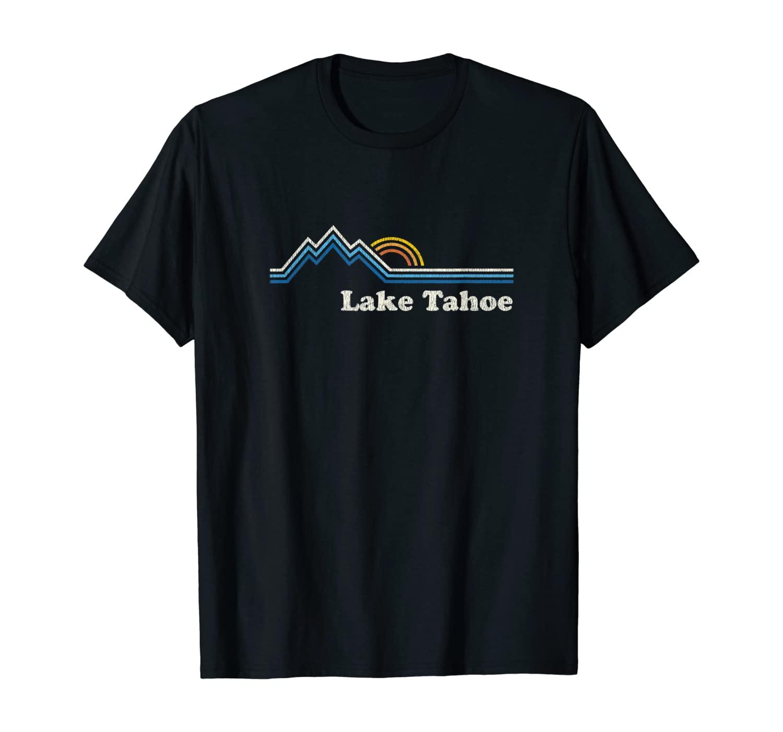 Retro Lake Tahoe California T Shirt Vintage Sunrise Mountain