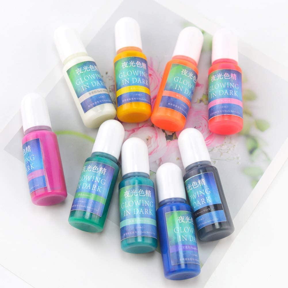 OERTUFU Dark Pigment Powder,Luminous Paint,Luminous Powder Non-Toxic Safety 10 Colors Pigment Powder for Paint, Slime, Nails, Resin, Concerts 10 Clors/Set