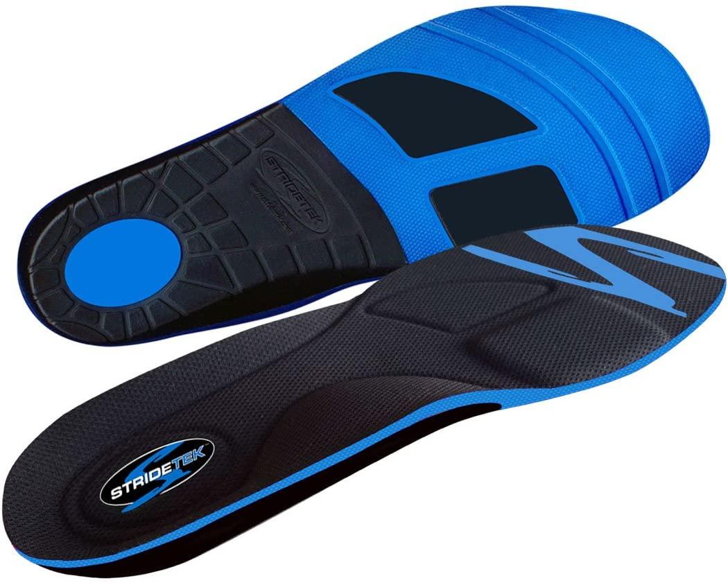 Stridetek Tactical Trainer Orthotic Insoles - Arch Support Metatarsal Pad & Gel Plugs Prevent Foot Pain Plantar Fasciitis & Shin Splints - (Blue) - Mens 7 / Womens 8