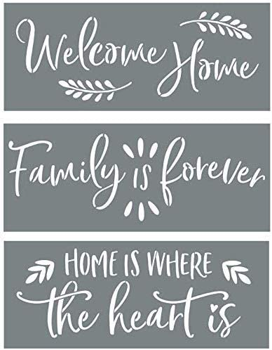 Sign Stencils for Painting on Wood - Welcome Home + Family is Forever + Home is Where The Heart is - Create Beautiful DIY Signs with Word Stencils - Set of 3 Reusable Stencils for DIY Signs