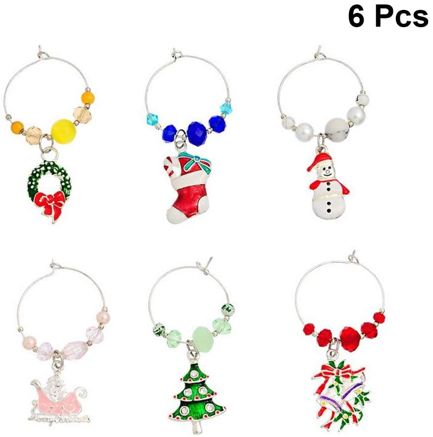 BESTonZON Wine Glass Charms Rings Christmas Glass Drink Markers Tags Wire Hoops Party Gifts 6pcs
