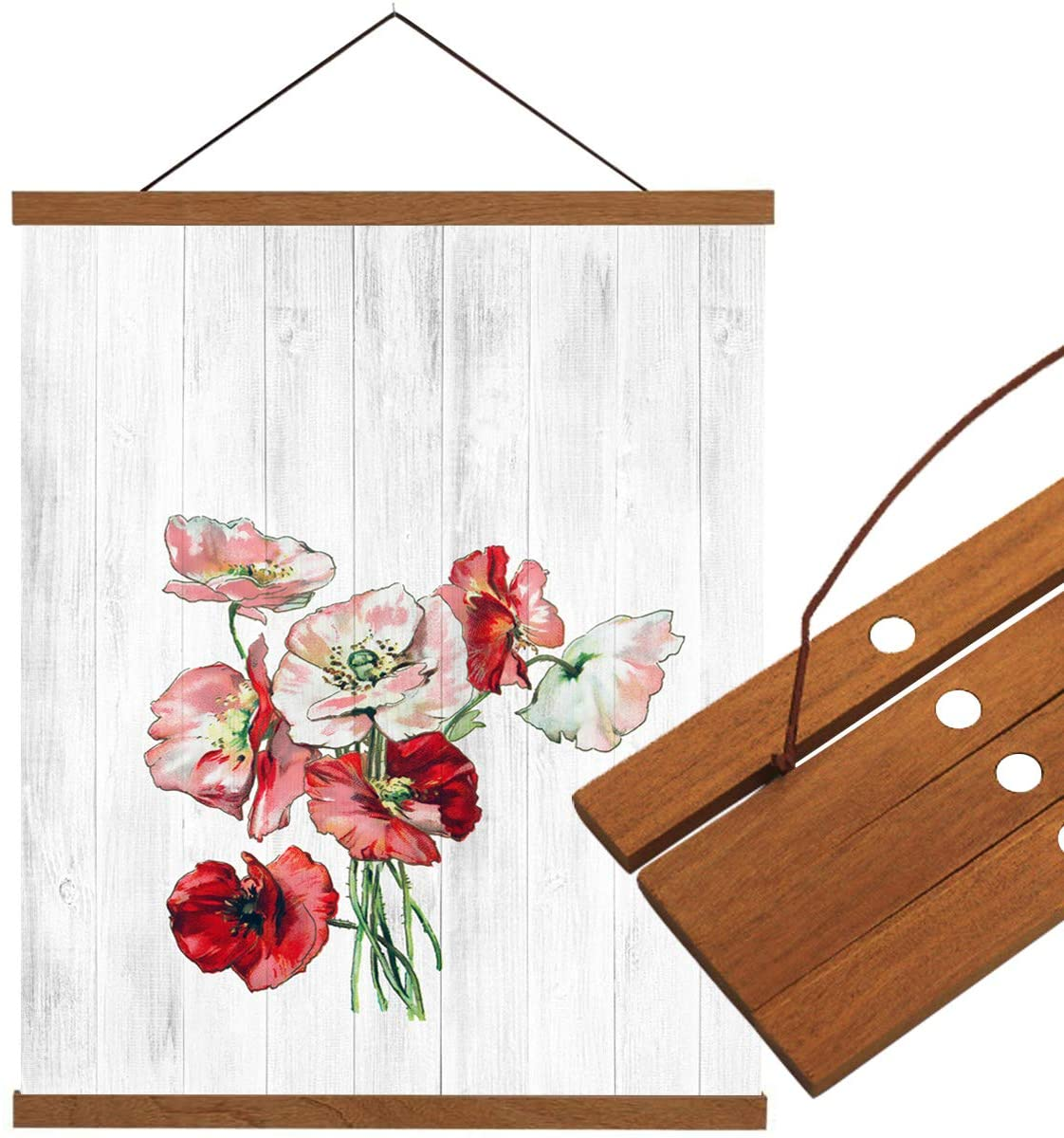 Edwiinsa Magnetic Wood Stick Canvas Poster Hanger, Watercolor Poppy Flowers on Wooden Plank, Dowel Scroll Hanging Kit for Walls Canvas Artwork Print(Teak, 12