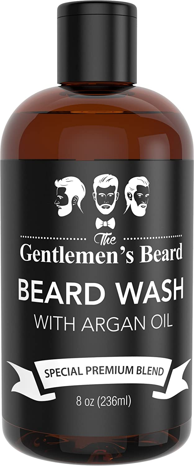 Beard Wash Shampoo with Argan Oil - Aids Growth and Volume - Beard Shampoo & Softener for Men with Essential Oils - Best Beard Grooming Products for All Types of Beards - Handcrafted in the USA