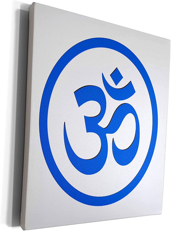 3dRose EvaDane - Symbols - Om, Namaste, Blue - Museum Grade Canvas Wrap (cw_202837_1)