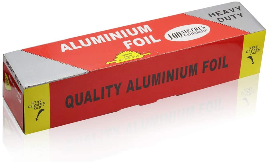 Aluminum Foil Roll 18 Micron-Thick Non-Stick Wrap 11.8 inches x 330 ft (330 Square Feet Roll), BBQ Foil Rolls for Grilling, Roasting, Baking.