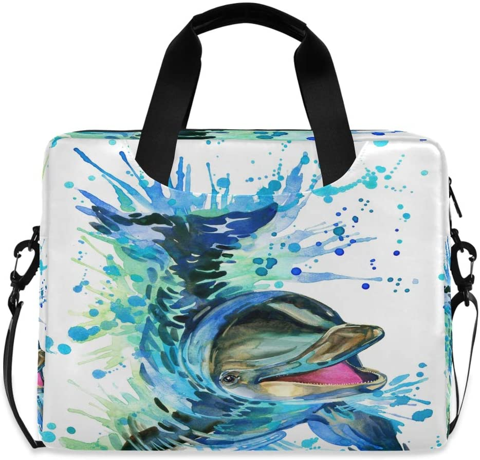 MAHU Laptop Case Bag Watercolor Sea Animal Dolphin Laptop Sleeves Briefcase 13 14 15.6 inch Computer Messenger Bag with Handle Strap for Women Men Boys Girls
