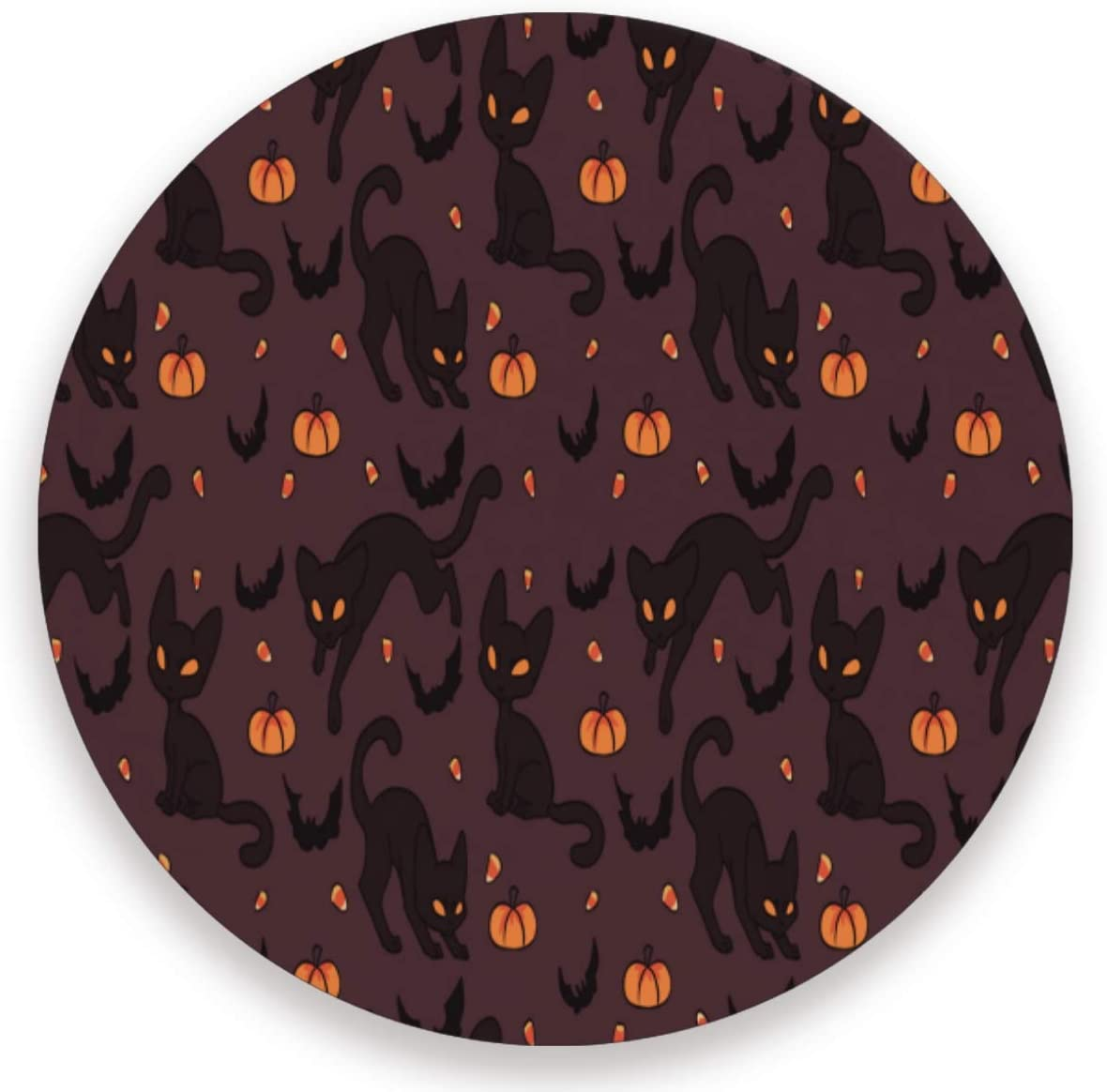 Olinyou Haloween Cat Bat Pumpkin Candy Brown Coasters for Drinks Set of 2 Absorbent Moisture Absorbing Ceramic Stone Coaster with Cork Base