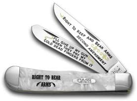CASE XX White Pearl Corelon Right to Bear Arms 1/600 Trapper Pocket Knife Knives