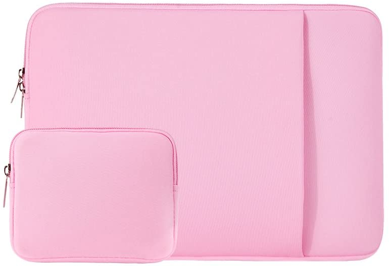 RAINYEAR 13 Inch Laptop Sleeve Case Front Pocket Soft Carrying Bag with Accessories Pouch,Specially Compatible 2019 2020 New Model 13.3 MacBook Air/Pro/Touch Bar A1932 A1706 A1708 A2159 A2179(Pink)