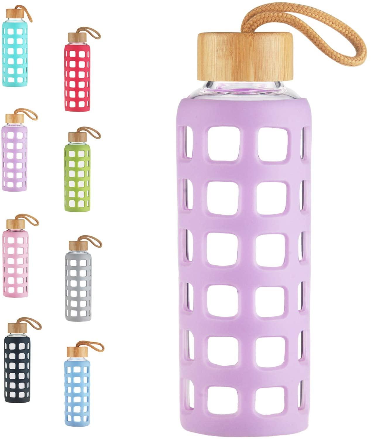 Cleesmil BPA Free Glass Water Bottle with Anti-Slip Silicone Sleeve with Bamboo Lid Leak Proof 22 oz (Violet)