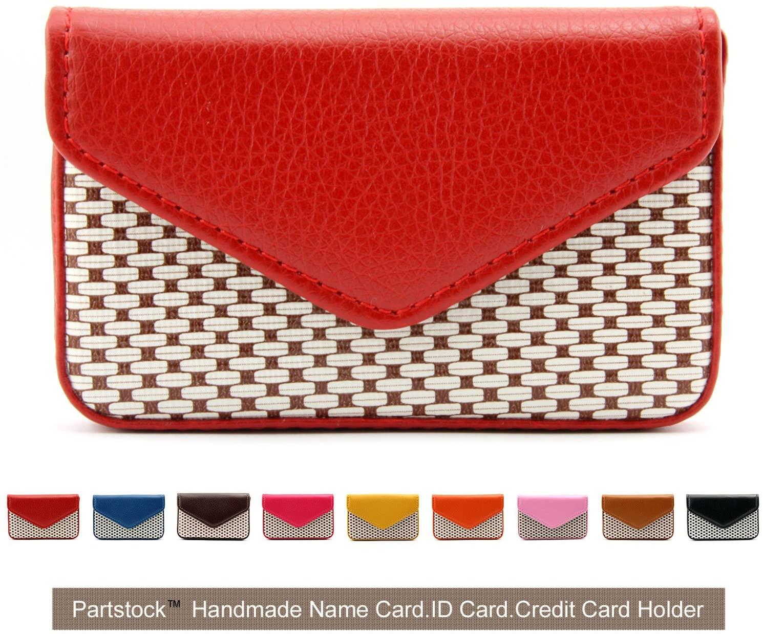 Partstock Multipurpose PU Leather Business Name Card Holder Wallet Leather Credit card ID Case / Holder / Cards Case with Magnetic Shut.Perfect Gift - Red