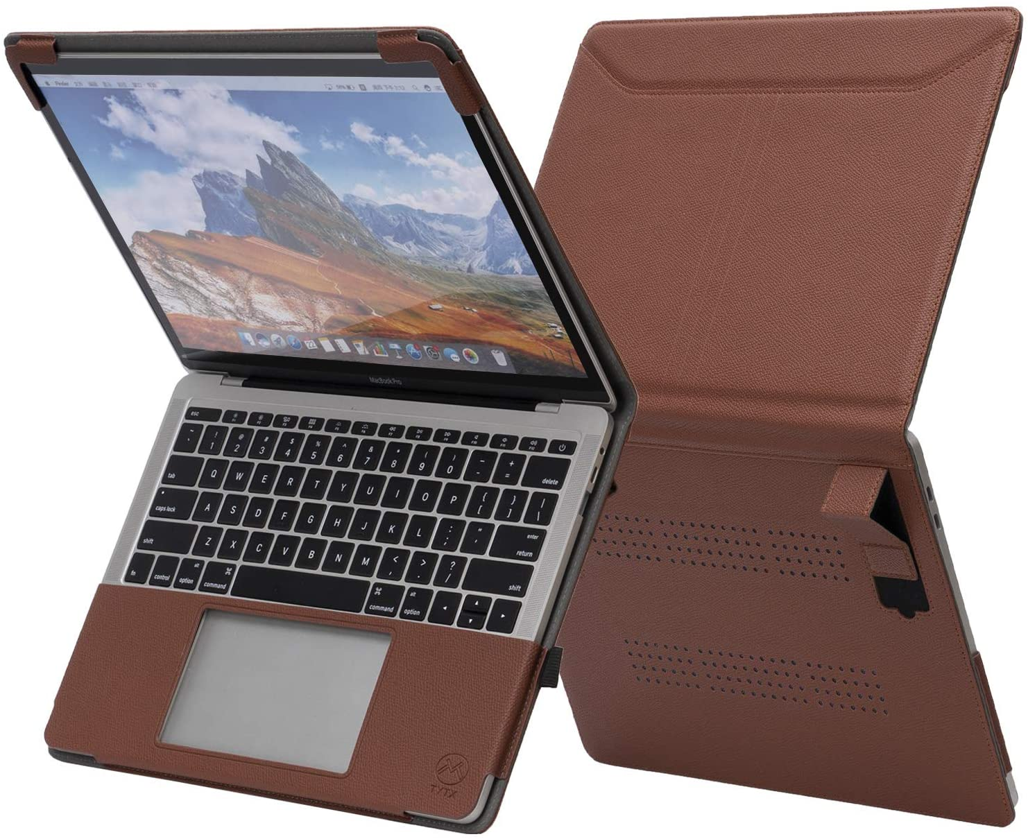 TYTX MacBook Air Leather Case with Vents and Stand Function 13 Inch 2020 2019 2018 (A2179 A1932) (Brown)