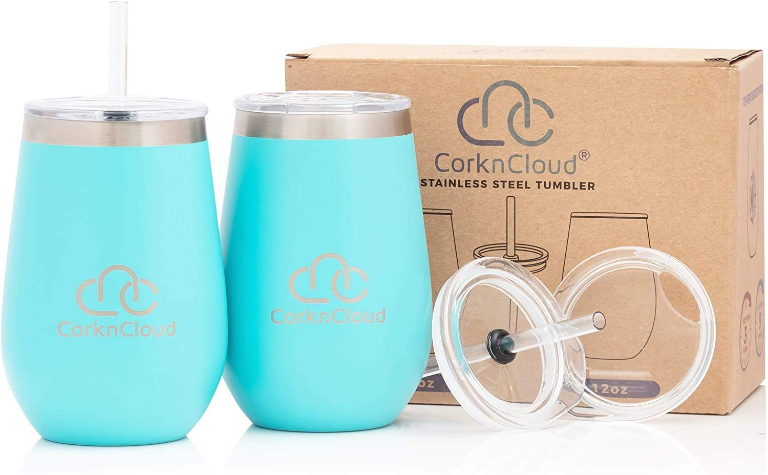 Stemless Stainless Steel Insulated Wine Tumbler with Lid [2 pack]|Insulated Travel Wine Glass or Outdoor Cup |PC Teal
