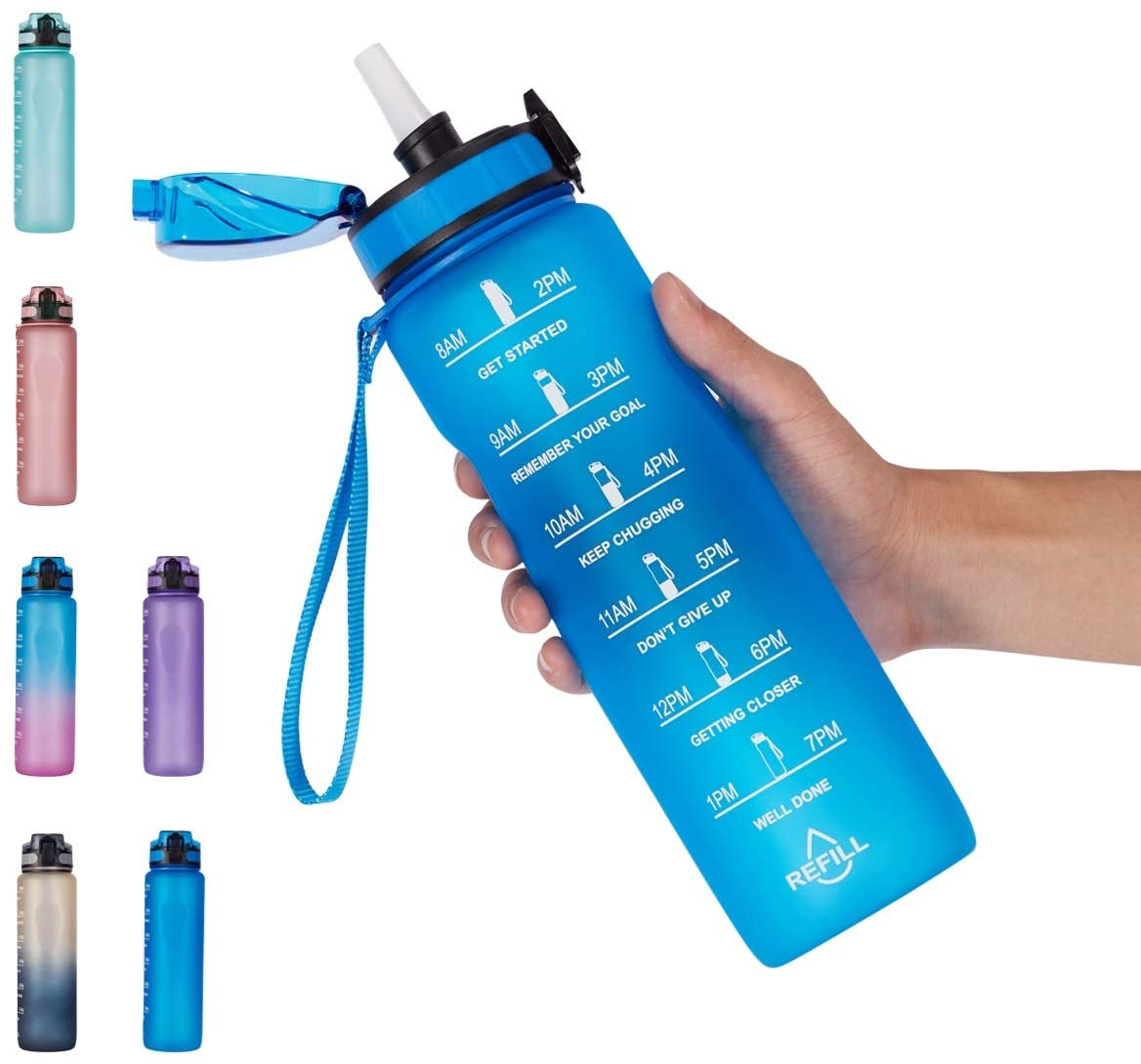 NOOFORMER 32oz Water Bottle With Time Marker and Straw Lid – Motivational Sports Water Tracker Bottle BPA Free & Leak Proof for Running, Fitness,Outdoor and Cycling
