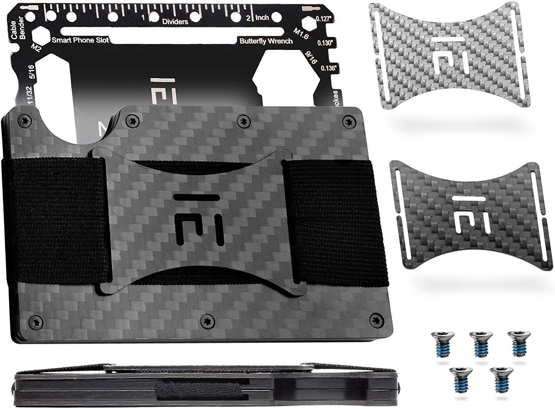Minimalist Mens Wallet & Multitool - Carbon Fiber Tactical Wallet for Men/RFID Smart Slim Front Pocket Credit Card Holder
