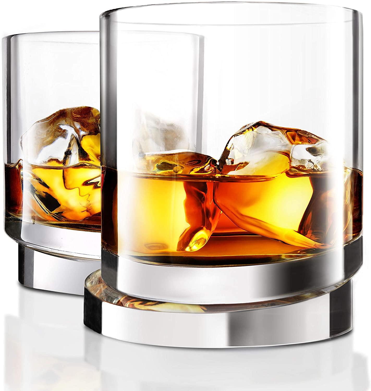 JoyJolt Aqua Vitae Whiskey Glass Set of 2. Round Whiskey Glasses with Off Set Base. Old Fashioned Rocks Glasses for Scotch and Bourbon. Unique Whiskey Tumbler Gifts for Men
