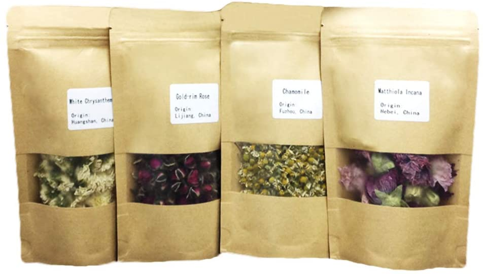 MinaJoy Four Packs Dried Flowers Rose Buds, Chrysanthemum, Chamomile for Flower Tea, Food Decoration, Sachet, Handmade soap and Candle Supplies