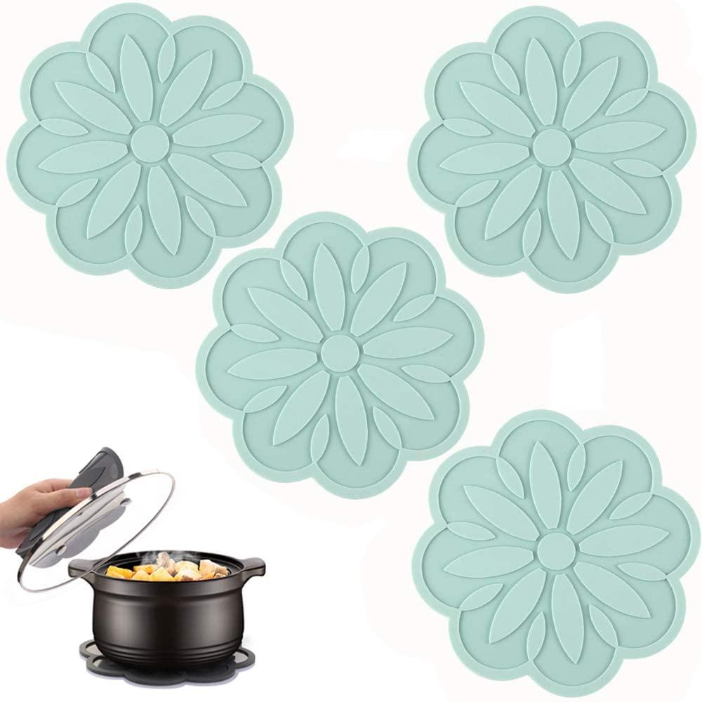 ME.FAN Silicone Trivet Mat [4 Set] Centaury Pot Holders, Hot Pads For Pots & Pans, Jar Opener, Spoon Rest & Coasters Heat Resistant Non Slip Flexible & Durable - Diameter:6.7''(Peppermint Green)