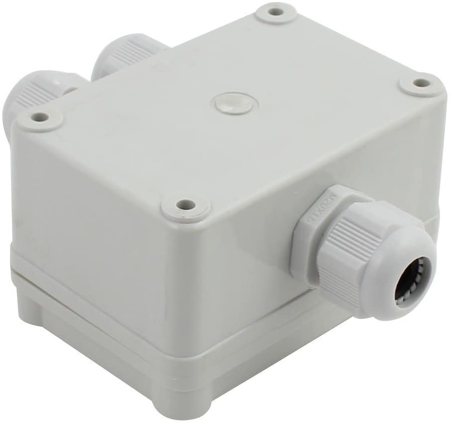 YXQ 1 In to 2 Out Electrical Junction Box Terminal Block w Connector Gland Dustproof Electric IP65 Waterproof Project Enclosure Case White Grey (3.8