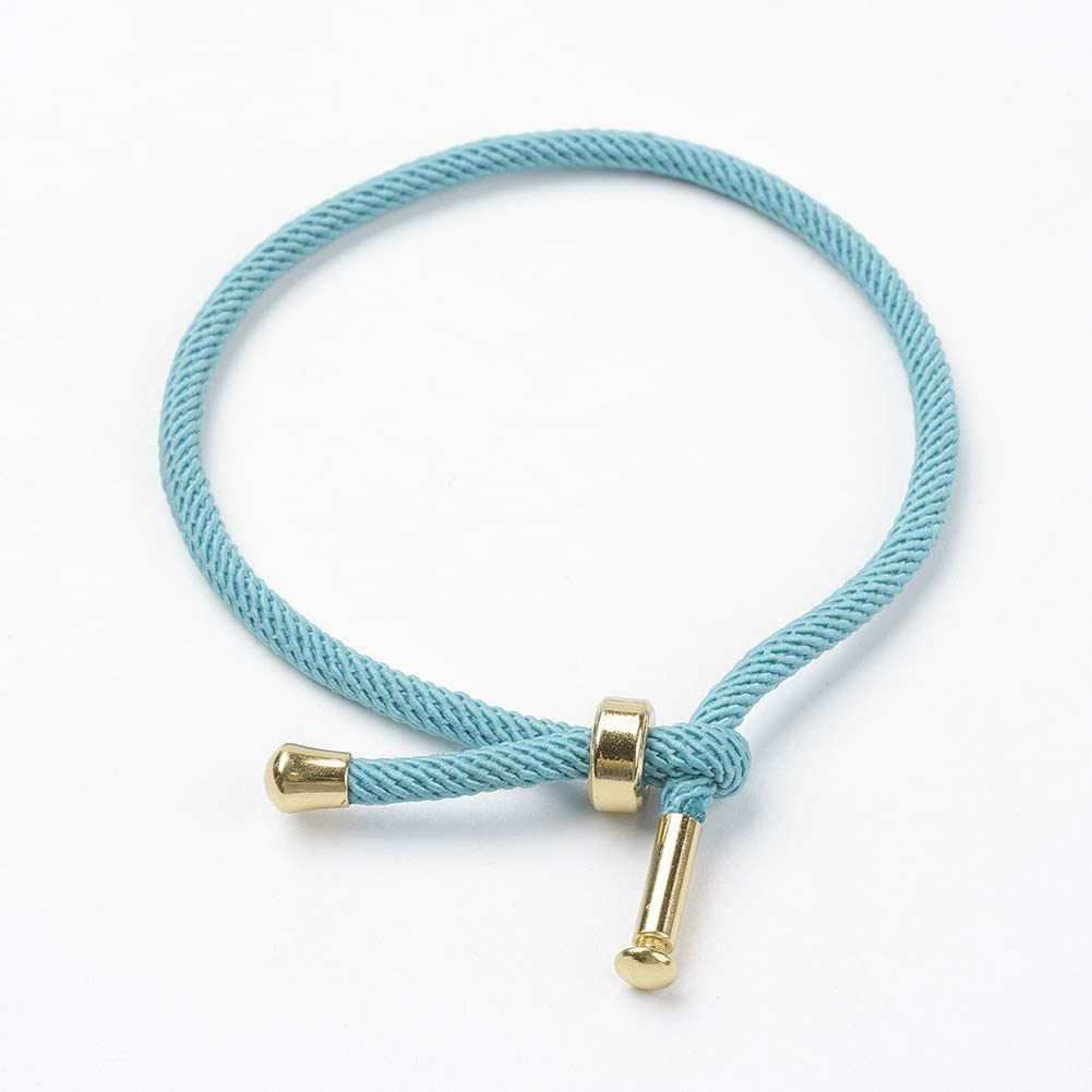 UNICRAFTALE 10pcs Cotton Twisted Cord Bracelet Making with Stainless Steel Findings for DIY Jewelry Making Hand Making Crafts, Golden, SkyBlue