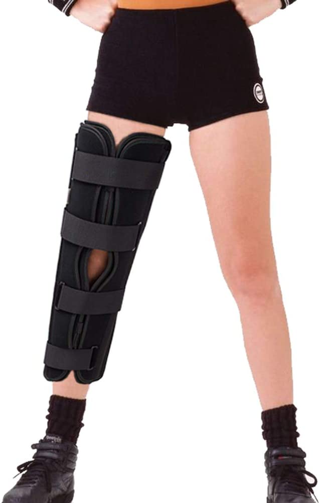TODDOBRA Tri-Panel Knee Immobilizer Full Leg Support Brace, Aluminum Alloy Straight Knee Splint - for Knee Pre-and Postoperative & Injury or Surgery Recovery-Size M