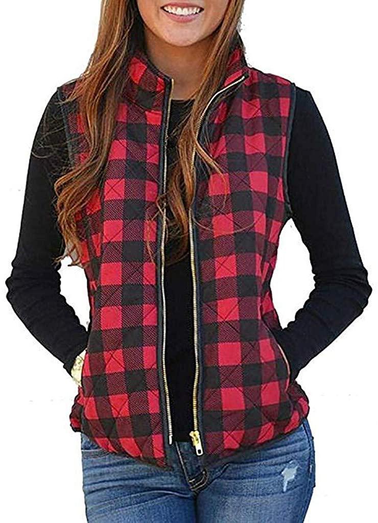 Women Sherpa Fleece Vest,Memela Womens Buffalo Plaid Zip Up Vest Winter Sleeveless Jacket Coat Warm Waistcoat with Pockets