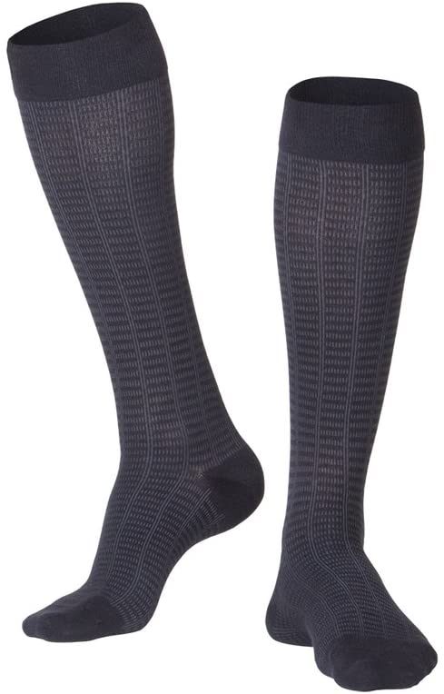 TOUCH Compression Socks for Men, 15-20 mmHg, Checkered, Cotton, 1 Pair, Black, Large