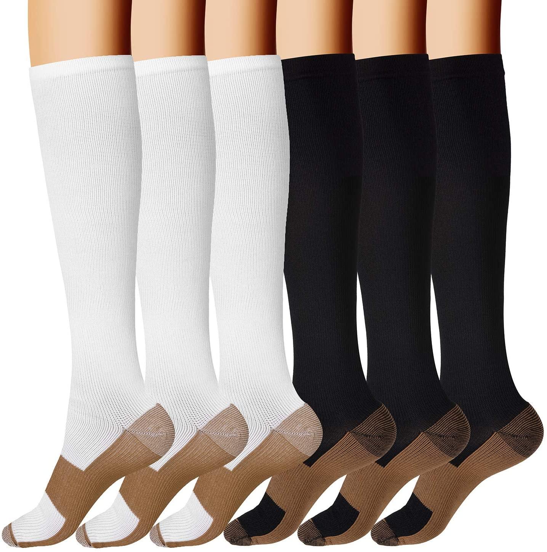Bropite Copper Compression Socks for Men & Women- 6 Pairs Copper Fit Socks - Suit for Running, Athletic, Nurses, Pregnancy, Flight, and Traveling (D- Black/White, S/M)