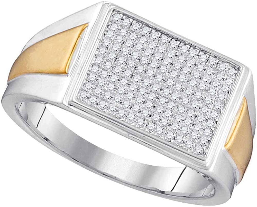 TheDiamondDeal 10kt Two-tone White Gold Womens Round Diamond Rectangle Cluster Ring 1/3 Cttw